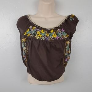 Free people top blouse cotton embroidery size XS
